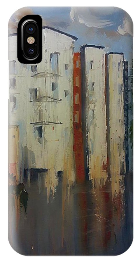 City IPhone X Case featuring the painting Downtown by Shelley Wheeler