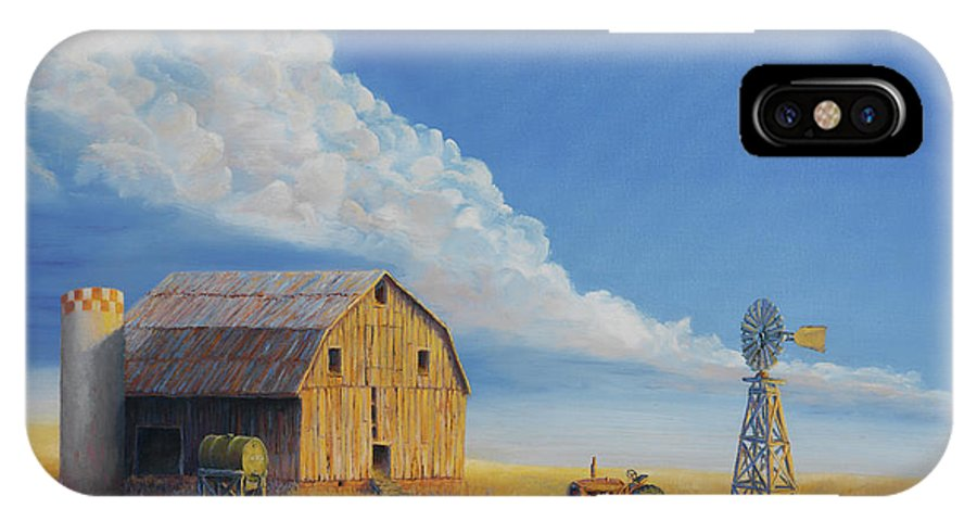 Barn IPhone X Case featuring the painting Downtown Wyoming by Jerry McElroy