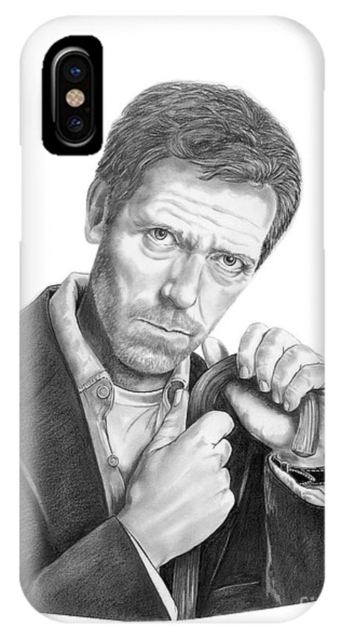 Drawing IPhone X Case featuring the drawing Dr. House Hugh Laurie by Murphy Elliott