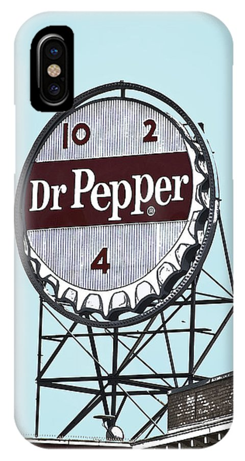 Dr IPhone X Case featuring the photograph Dr Pepper Landmark Sign Roanoke Virginia by Teresa Mucha