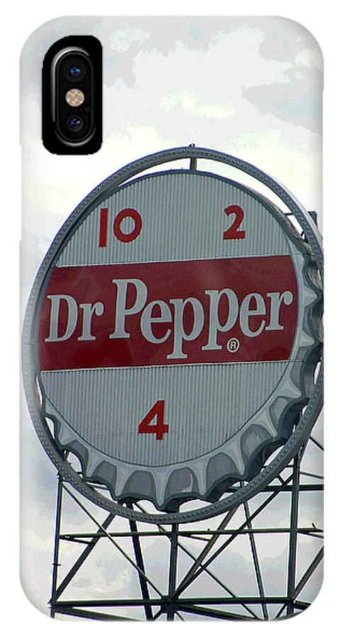 Dr. Pepper IPhone X Case featuring the photograph Dr. Pepper Sign - Roanoke Virginia II by Suzanne Gaff