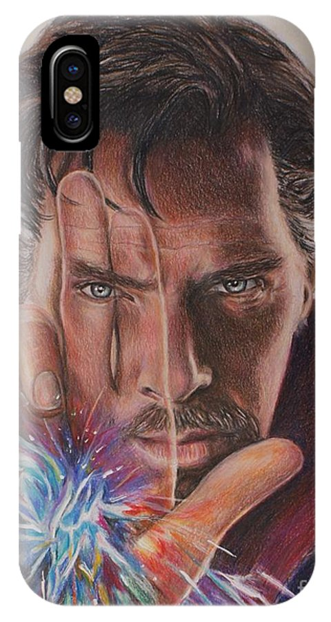 Dr. Strange IPhone X Case featuring the drawing Dr. Strange by Christine Jepsen