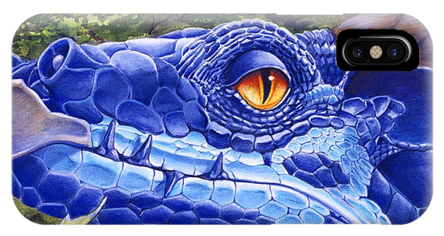 Dragon IPhone X Case featuring the painting Dragon Eyes by Melissa A Benson