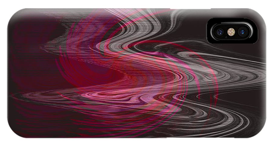 Abstract IPhone X Case featuring the digital art Dragon Queen by Linda Sannuti