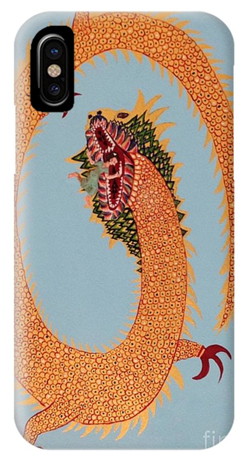 Dragon IPhone X Case featuring the painting Dragon by Rohanna Salom