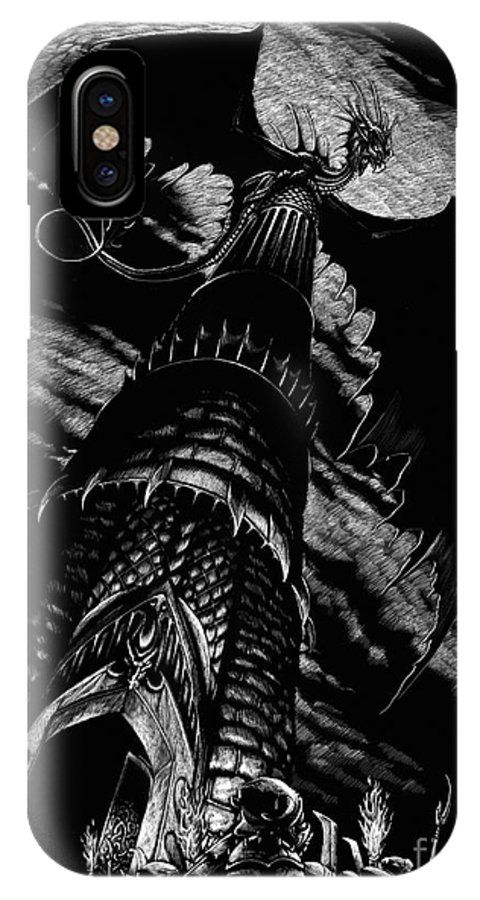 Dragon IPhone X Case featuring the drawing Dragon Tower by Stanley Morrison