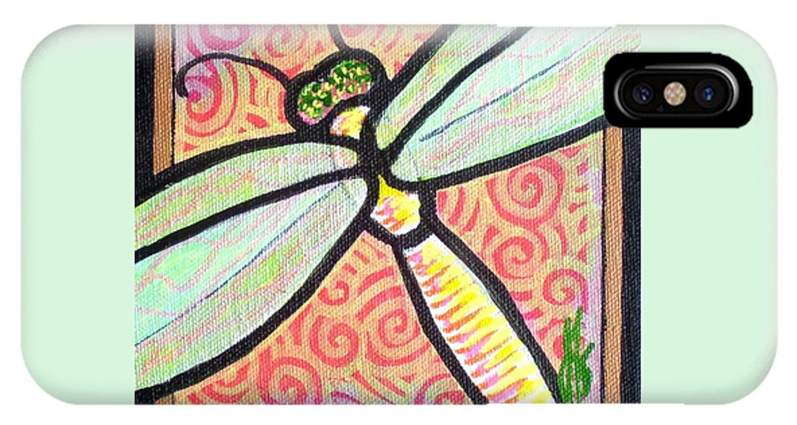 Dragonfly IPhone X Case featuring the painting Dragonfly Fantasy 3 by Jim Harris