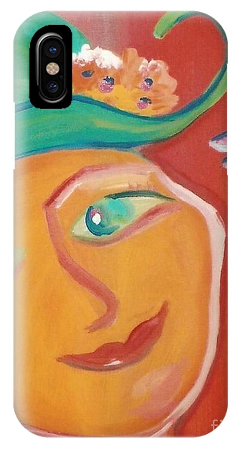 Mural IPhone Case featuring the painting Dragonfly Lady At Tea House by Sidra Myers