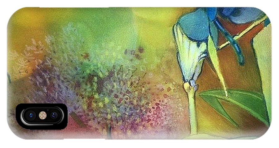 Flowers IPhone X / XS Case featuring the painting Dragonfly by Lunazzi Maria Rita