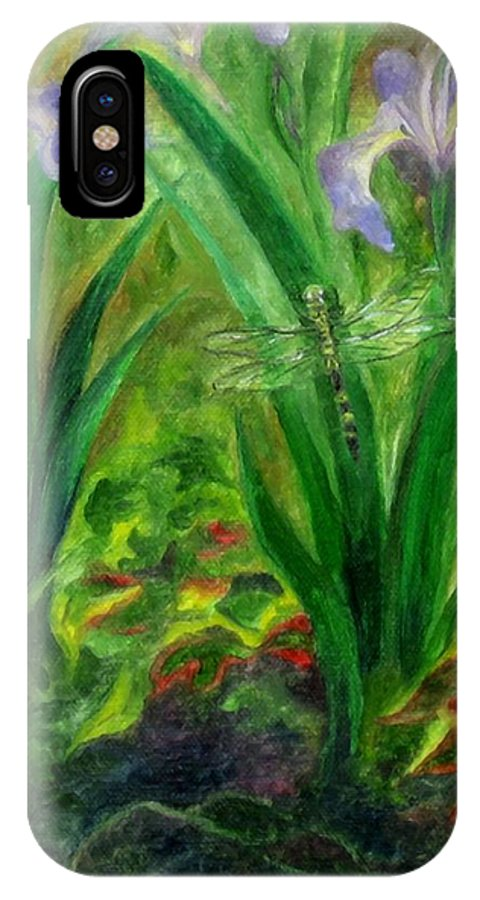 Dragonfly IPhone X Case featuring the painting Dragonfly Medicine by FT McKinstry
