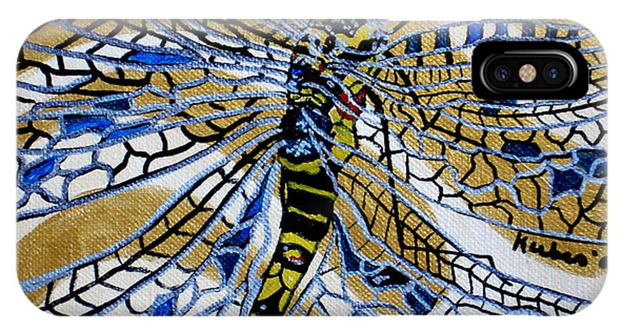Dragonfly IPhone Case featuring the painting Dragonfly On Gold Scarf by Susan Kubes