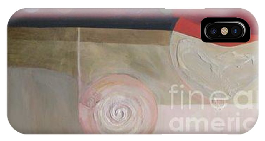 Abstract IPhone X Case featuring the painting Drama Too Diptych 2 by Marlene Burns