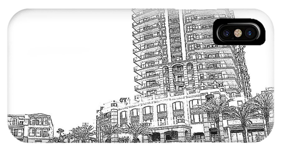 Drawing IPhone X Case featuring the photograph Drawing The Building by Michelle Powell