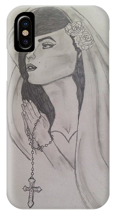 Praying Catholic Woman IPhone X Case featuring the drawing Drawings by Kimberly Silver