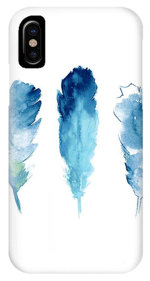Dream Catcher IPhone X Case featuring the painting Dream Catcher Feathers Painting by Joanna Szmerdt