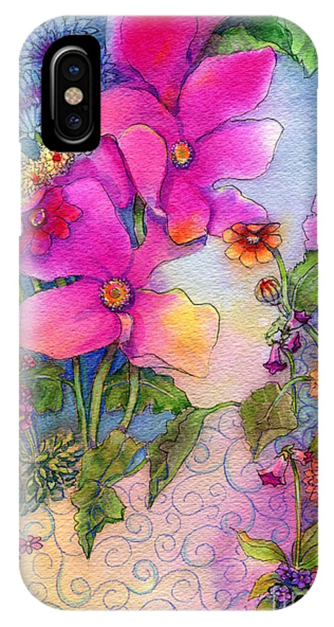 Neon Pink IPhone X Case featuring the painting Dream Flowers by Carole DiTerlizzi