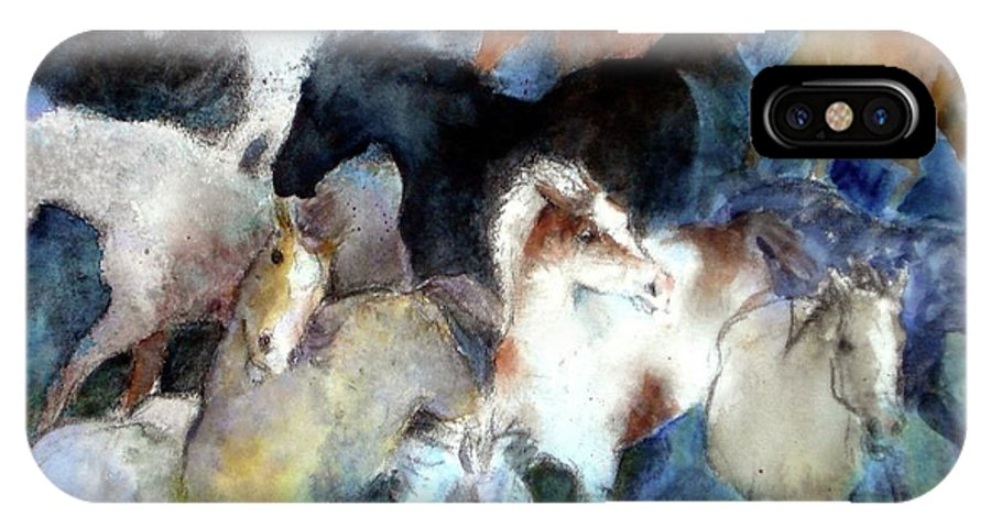 Horses IPhone X Case featuring the painting Dream Of Wild Horses by Christie Martin