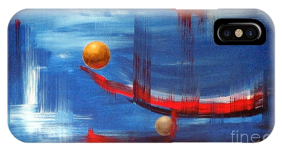 Abstract Art IPhone X Case featuring the painting Dream Ship by Arturas Slapsys
