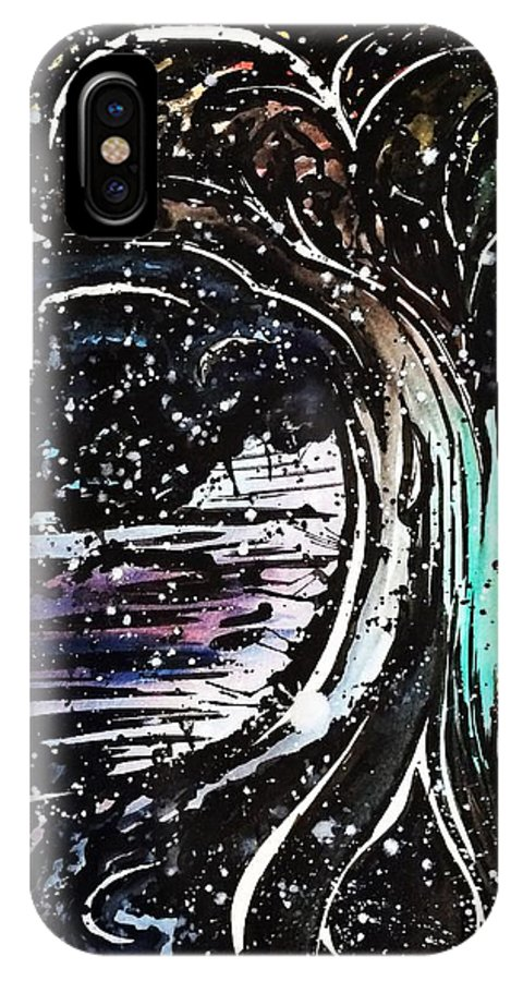 Watercolor IPhone X Case featuring the painting Dream Tree by Daryl-Ann Cole