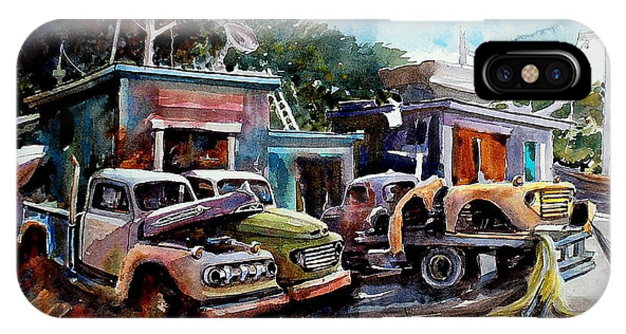 Trucks Buildings Boats IPhone X Case featuring the painting Dreamboat Woodworks by Ron Morrison