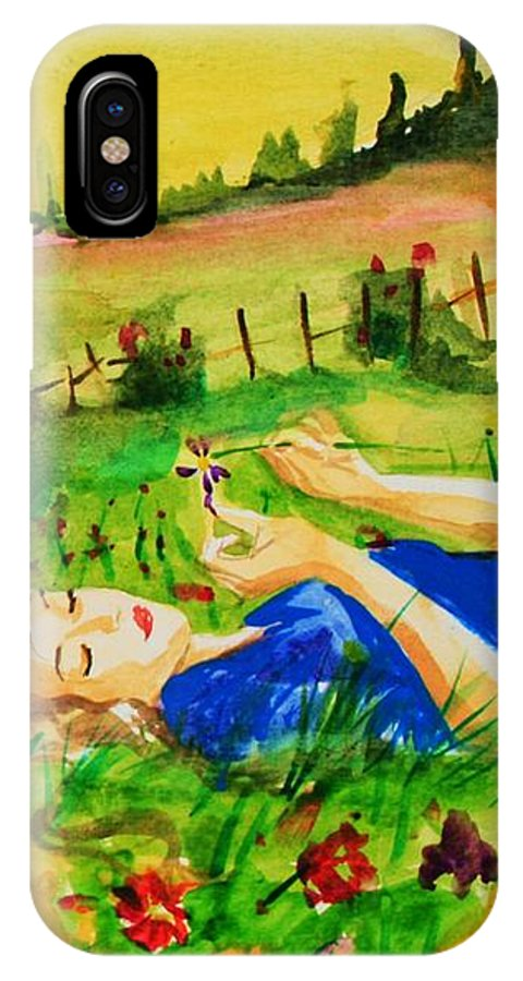 Landscape IPhone X / XS Case featuring the painting Dreaming by Laura Rispoli