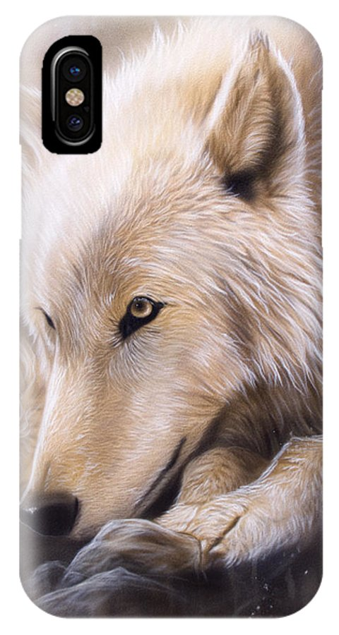 Wildlife Art IPhone X Case featuring the painting Dreamscape - Wolf by Sandi Baker