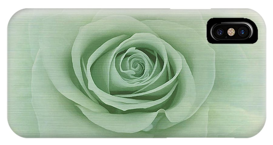 Dreamy IPhone X Case featuring the painting Dreamy Vintage Floating Rose by Judy Palkimas