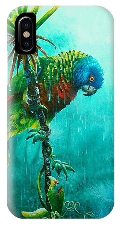 Chris Cox IPhone X Case featuring the painting Drenched - St. Lucia Parrot by Christopher Cox