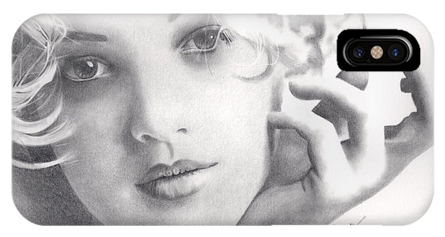 Drew Barrymore IPhone X Case featuring the drawing Drew Barrymore by Karen Townsend