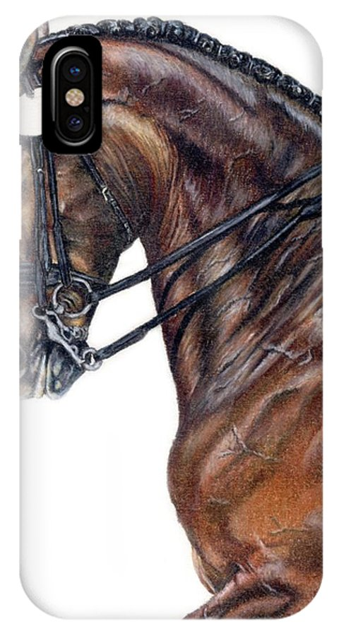 Horse IPhone X Case featuring the drawing Driven by Kristen Wesch