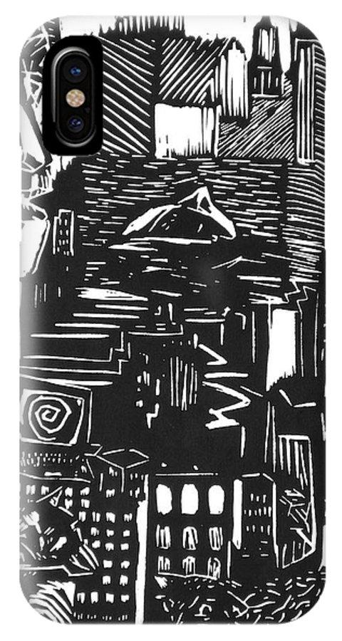 Apocalypse Buildings City Drown Lino Metropolis People Print Sheep Darkestartist Darkest Artist Black IPhone Case featuring the mixed media Drowning In Metropolis by Darkest Artist