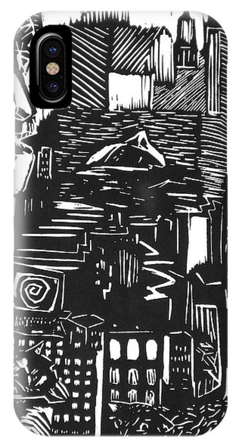 Apocalypse Buildings City Drown Lino Metropolis People Print Sheep Darkestartist Darkest Artist Black IPhone X Case featuring the mixed media Drowning in Metropolis by Darkest Artist