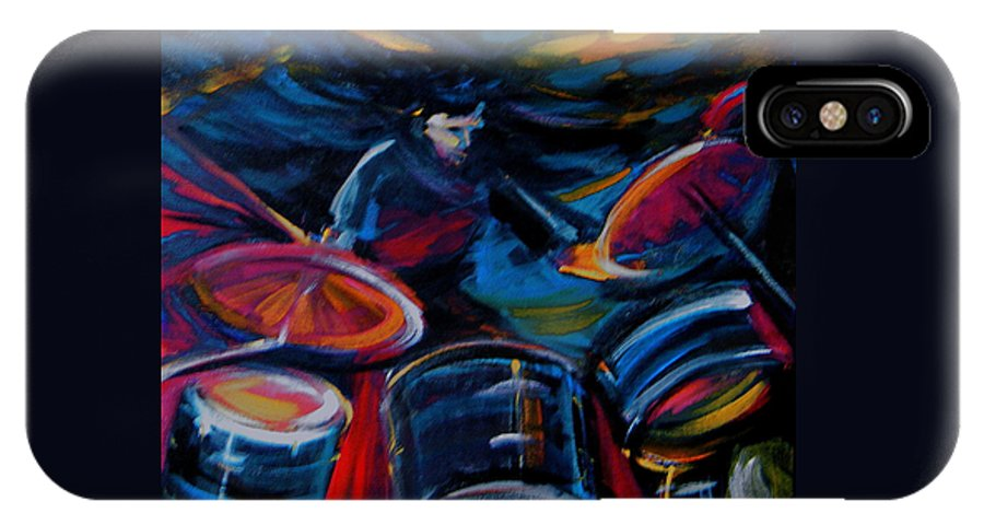 Drummer IPhone X Case featuring the painting Drummer Craze by Jeanette Jarmon