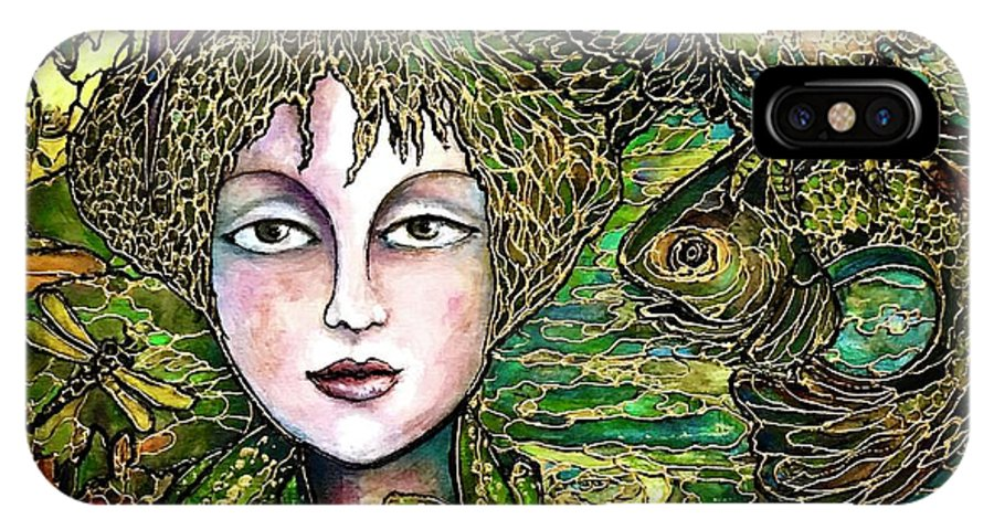 Original Painting IPhone X Case featuring the painting Dryad's Tale by Rae Chichilnitsky