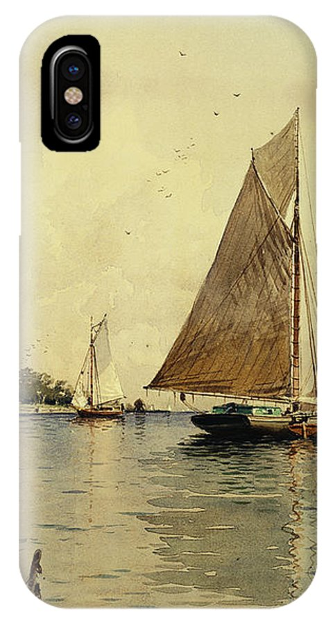 Bricher IPhone X Case featuring the painting Drying The Sails, Oyster Boats, Patchogue, Long Island by Alfred Thompson Bricher