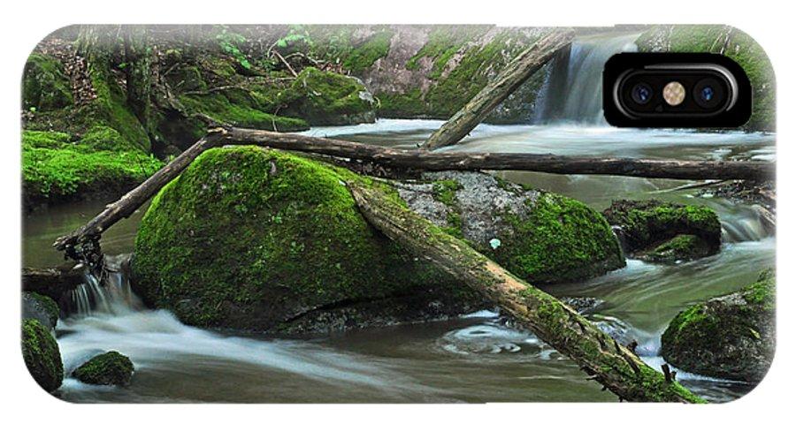 Stream IPhone X Case featuring the photograph Dual Falls by Glenn Gordon