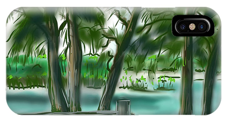 Dubois Park IPhone X Case featuring the painting Dubois Park Lagoon by Jean Pacheco Ravinski