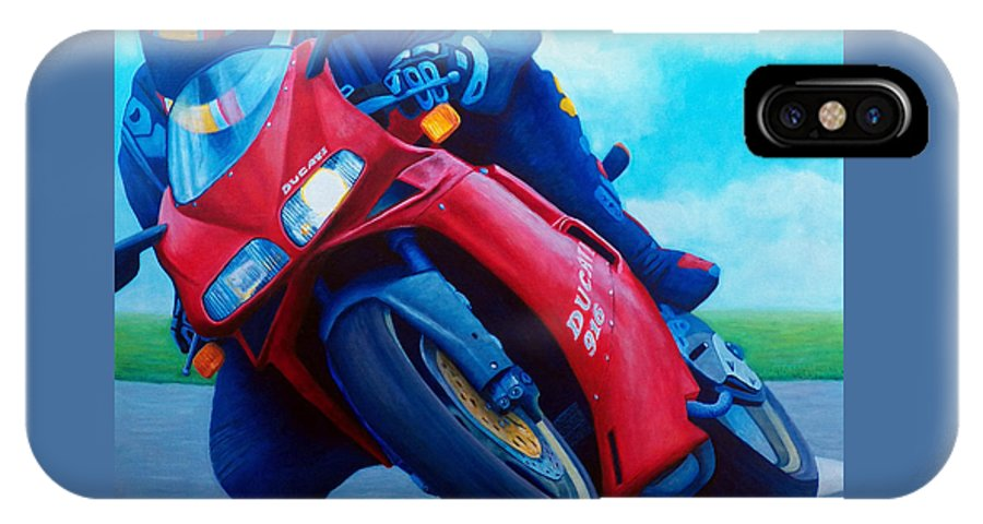 Motorcycle IPhone Case featuring the painting Ducati 916 by Brian Commerford
