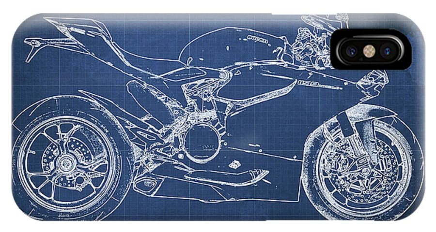Ducati panigale 1199 blueprint blue background christmas gift iphone ducati panigale 1199 iphone x case featuring the mixed media ducati panigale 1199 blueprint blue background malvernweather Gallery