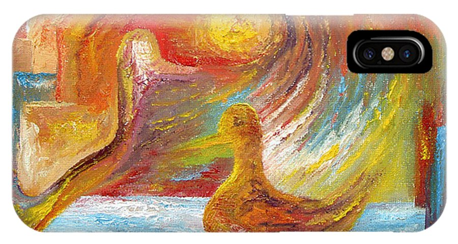 Duck IPhone Case featuring the painting Duck The Alchemist by Karina Ishkhanova
