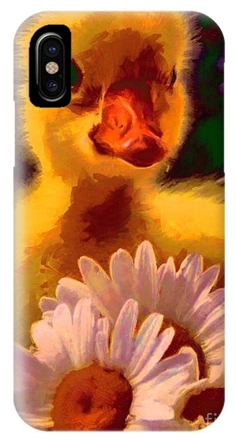 Fuzzy Duckling And Daisies IPhone X Case featuring the painting Fuzzy Duckling And Daisies by Catherine Lott