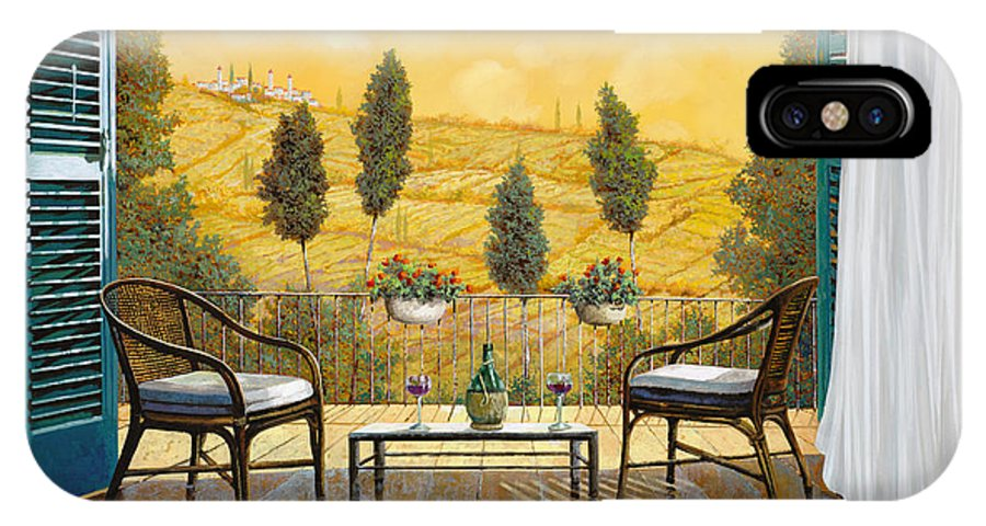 Terrace IPhone X Case featuring the painting due bicchieri di Chianti by Guido Borelli