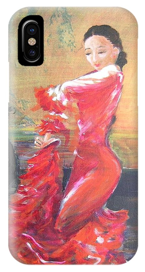 Gypsy Flamenco Dancer. Spanish Dancer IPhone Case featuring the painting Duende by Lizzy Forrester