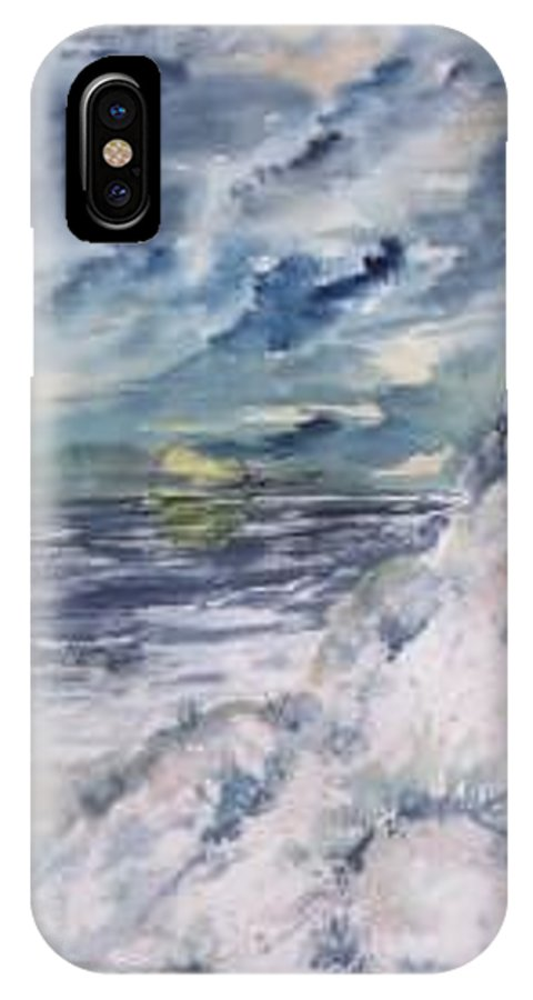 Seascape IPhone X Case featuring the painting Dunes 2 Seascape Painting Poster Print by Derek Mccrea
