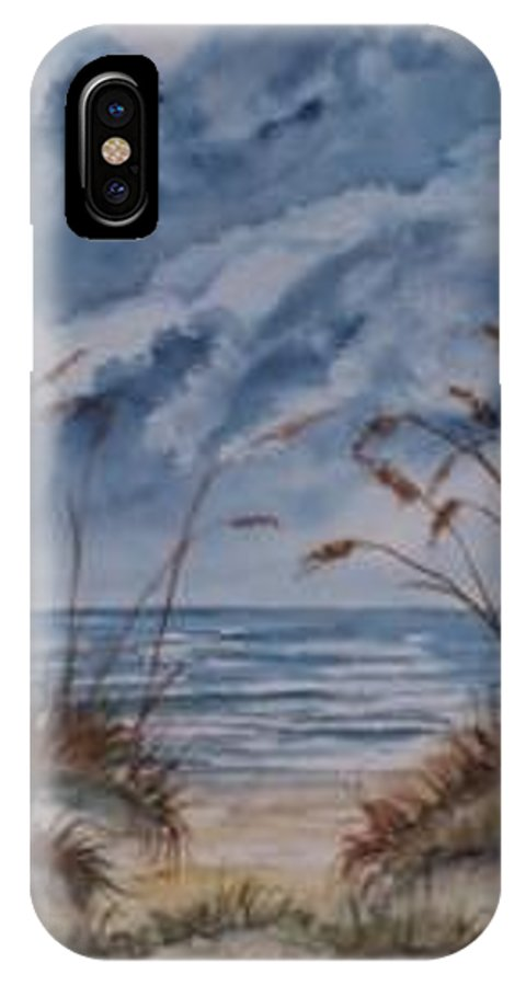 Watercolor Landscape Painting Seascape Beach IPhone X Case featuring the painting DUNES seascape fine art poster print seascape by Derek Mccrea