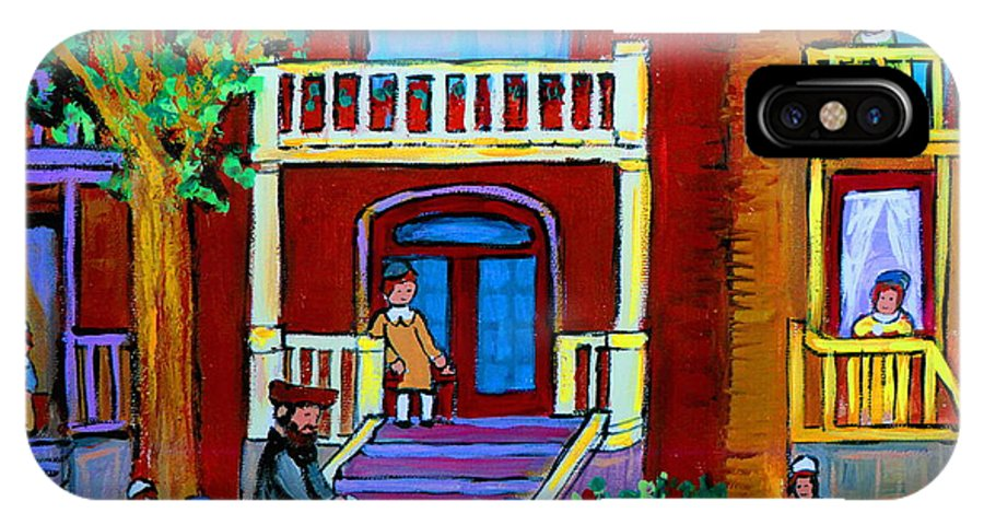 Judaica IPhone Case featuring the painting Durocher Street Montreal by Carole Spandau