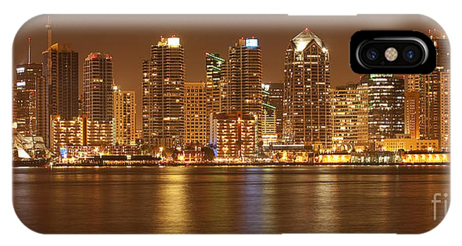 Panorama IPhone X Case featuring the photograph Dusk At San Diego Harbor by Sandra Bronstein