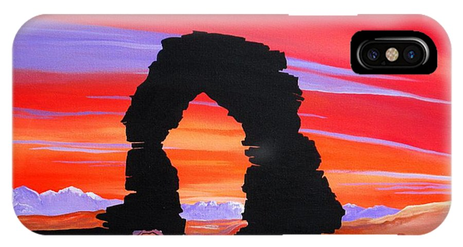 Arches National Park IPhone X Case featuring the painting Dusk at the Arches UT by Carol Sabo