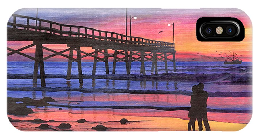 Dusk At The Pier IPhone X Case featuring the painting Dusk At The Pier by Christopher Spicer