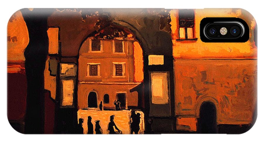 Cityscape IPhone Case featuring the painting Dusk by Kurt Hausmann